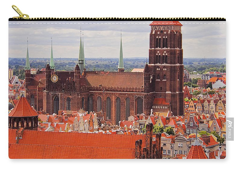Aerial Carry-all Pouch featuring the photograph Cityscape Of Gdansk by Karol Kozlowski