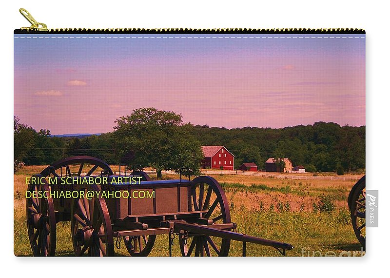 Civil War Carry-all Pouch featuring the photograph Civil War Caisson At Gettysburg by Eric Schiabor
