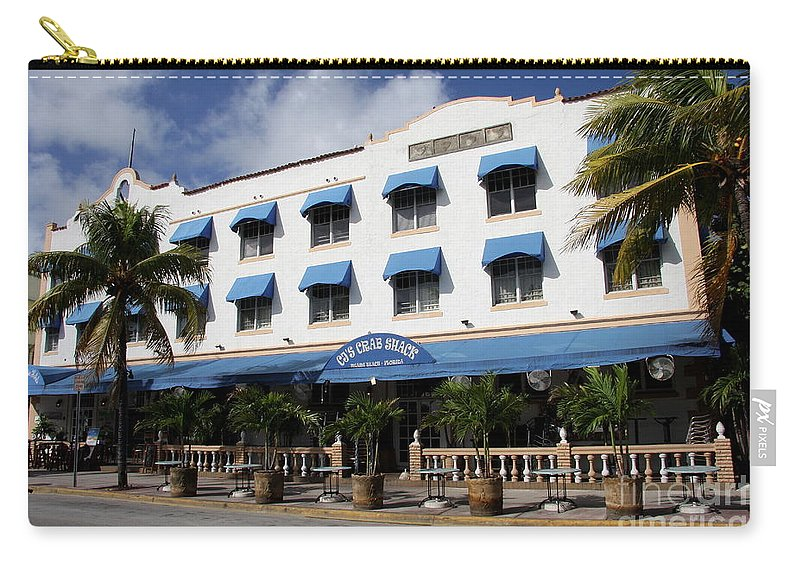 Cj S Crab Shack Carry-all Pouch featuring the photograph Cj's Crab Shack - Miami Beach by Christiane Schulze Art And Photography