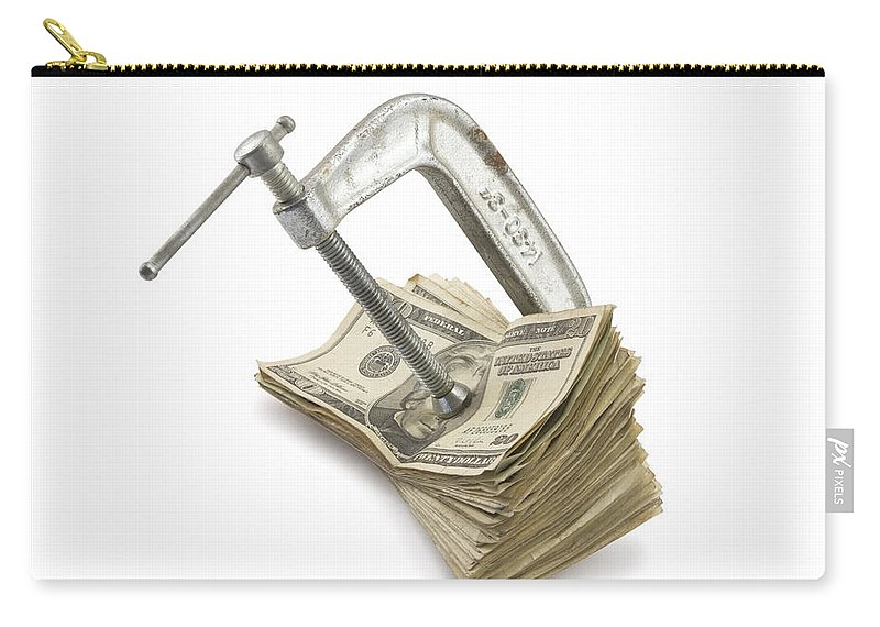 Money Carry-all Pouch featuring the photograph Clamp Putting Pressure On American Money Concept by Keith Webber Jr