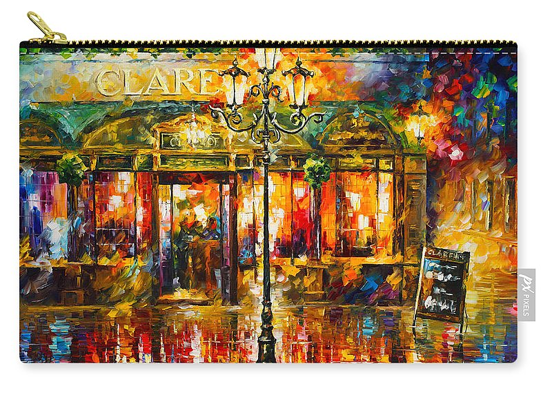 Clarens Carry-all Pouch featuring the painting Clarens Misty Cafe by Leonid Afremov