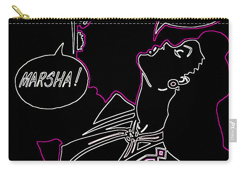 Cartoon Carry-all Pouch featuring the photograph Clark Gable Cartoon Poster Neon by Donna Greene