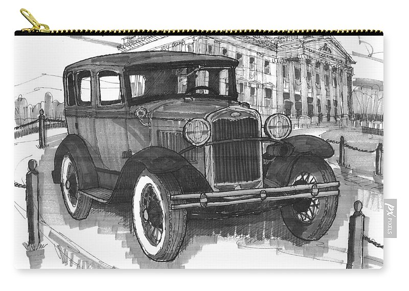 Classic Auto Carry-all Pouch featuring the drawing Classic Auto With Mills Mansion by Richard Wambach