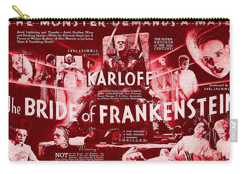 Classic Carry-all Pouch featuring the digital art Classic Bride Of Frankenstein Poster by R Muirhead Art