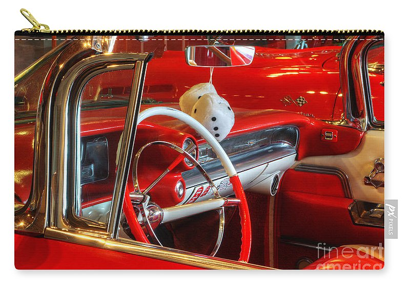 Cars Carry-all Pouch featuring the photograph Classic Cadillac Beauty In Red by Bob Christopher