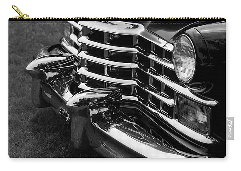 2014 Carry-all Pouch featuring the photograph Classic Cadillac Sedan Black And White by Edward Fielding