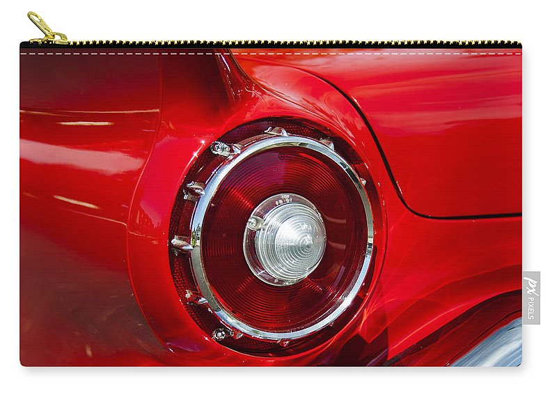 1957 Ford Thunderbird Car Photographs Photography Carry-all Pouch featuring the photograph 1957 Ford Thunderbird Classic Car by Jerry Cowart