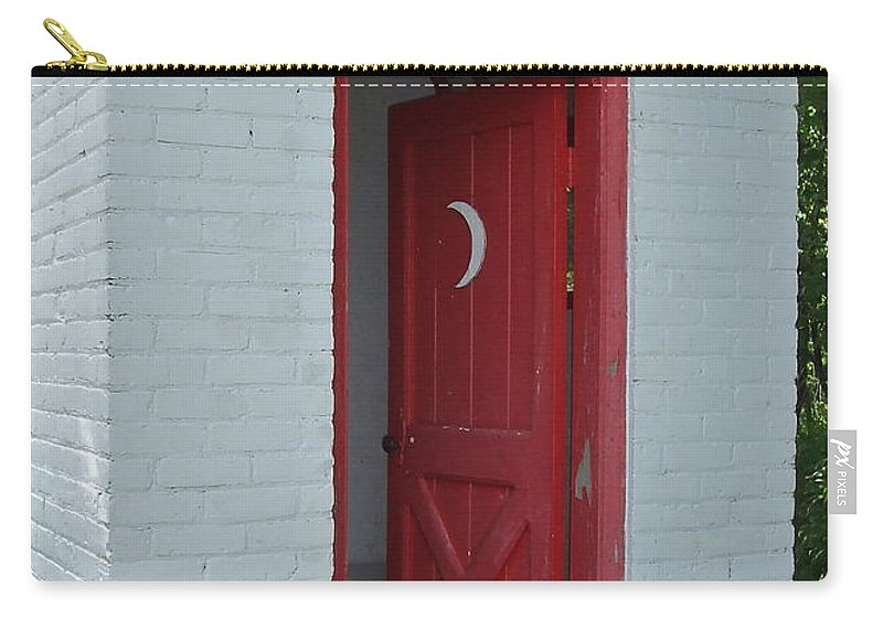 Red Carry-all Pouch featuring the photograph Classy Outhouse by Susan Wyman