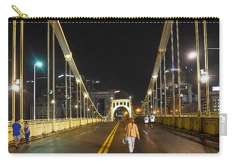 Clemente Carry-all Pouch featuring the photograph Clemente Bridge Stragglers by C H Apperson
