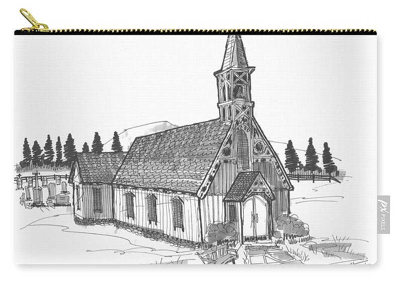 Church Carry-all Pouch featuring the drawing Clermont Chapel by Richard Wambach