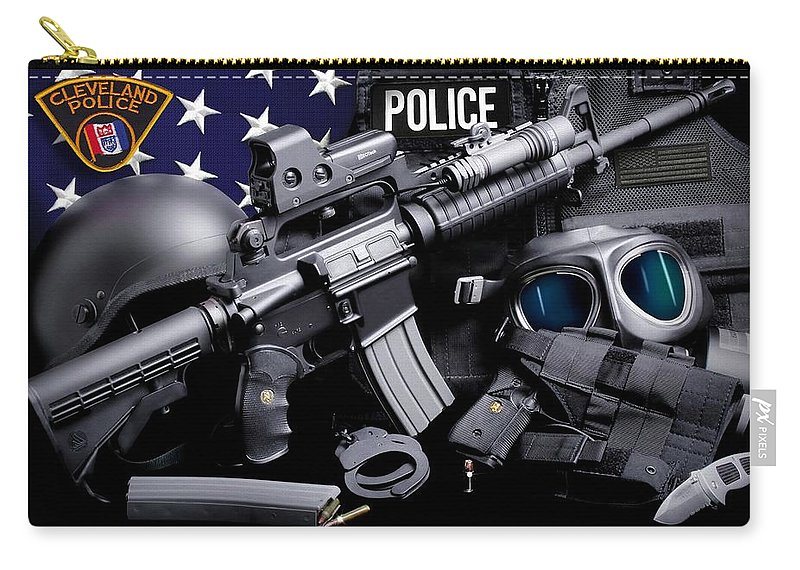 Cleveland Police Carry-all Pouch featuring the photograph Cleveland Police by Gary Yost