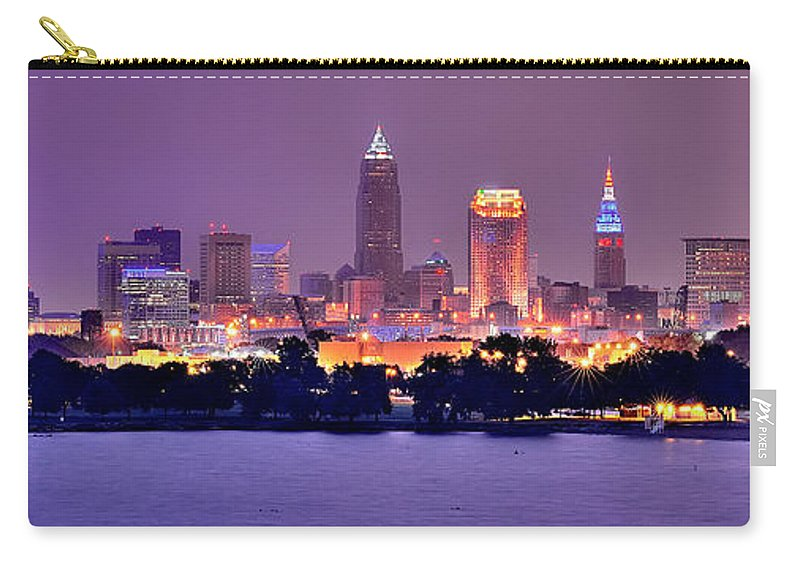 Cleveland Skyline Carry-all Pouch featuring the photograph Cleveland Skyline At Night Evening Panorama by Jon Holiday
