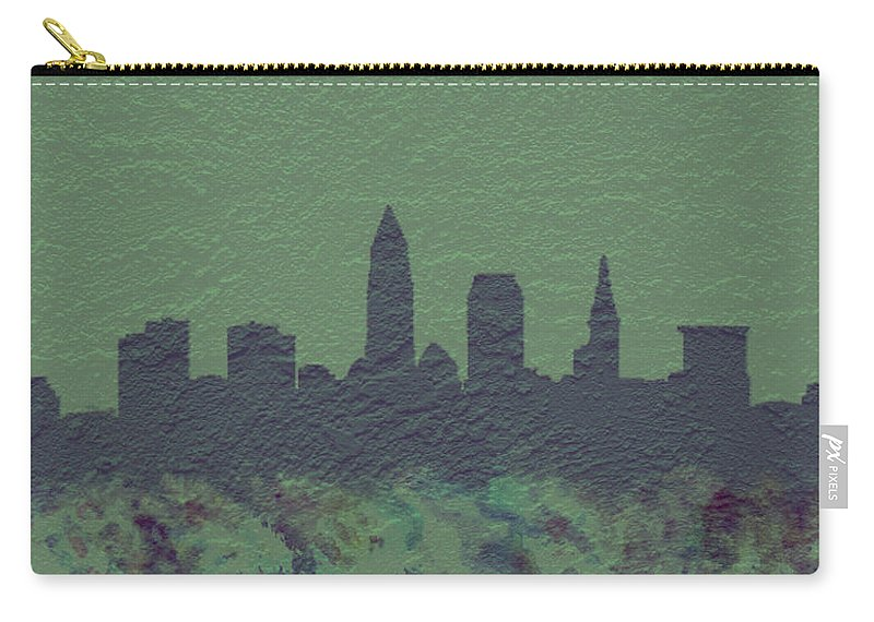 Brick Carry-all Pouch featuring the digital art Cleveland Skyline Brick Wall Mural by Brian Reaves