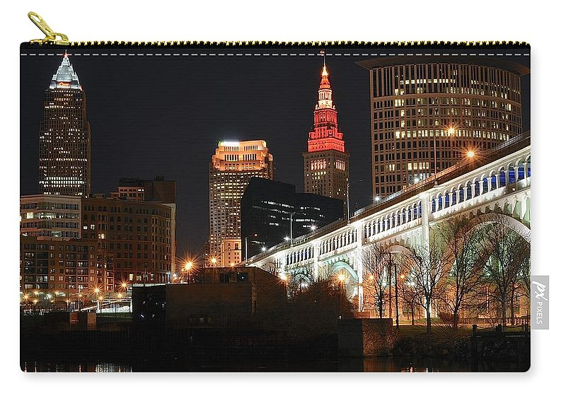 Cleveland Carry-all Pouch featuring the photograph Cleveland Up Close by Frozen in Time Fine Art Photography