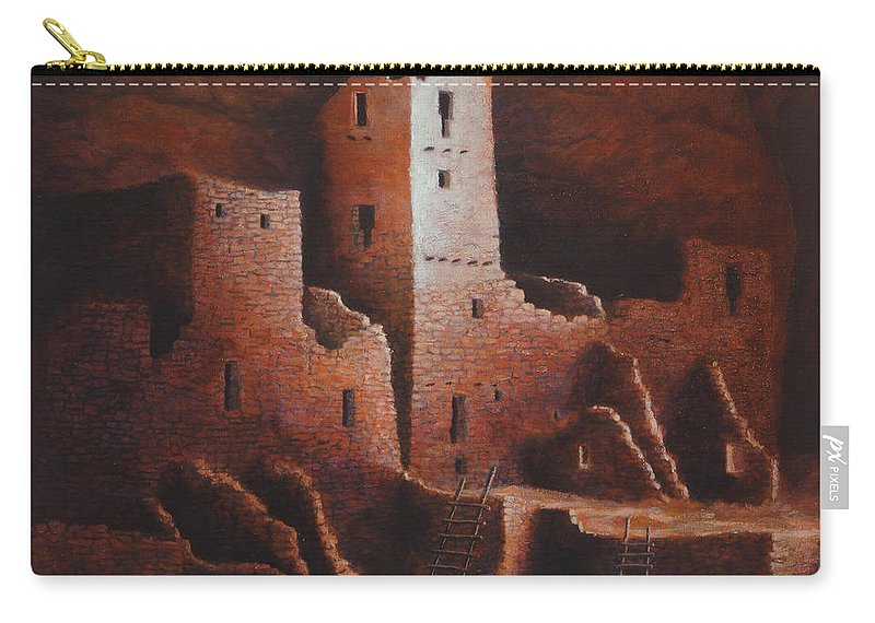 Anasazi Carry-all Pouch featuring the painting Cliff Palace by Jerry McElroy