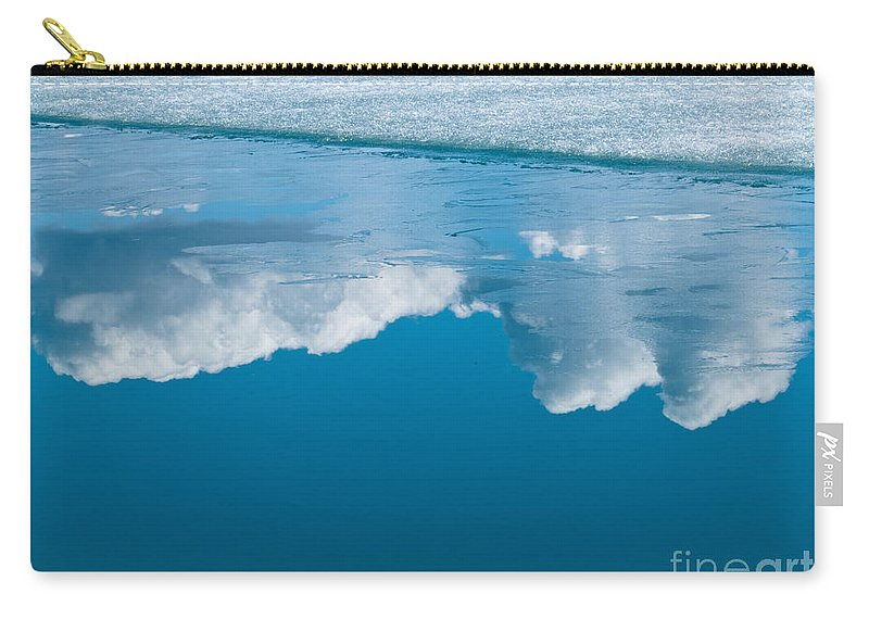 Abstract Carry-all Pouch featuring the photograph Climate Change Blue Arctic Water Reflected Clouds by Stephan Pietzko