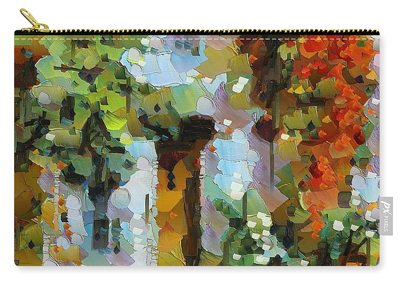 Landscapes Carry-all Pouch featuring the painting Climbing Red Rose by Dragica Micki Fortuna