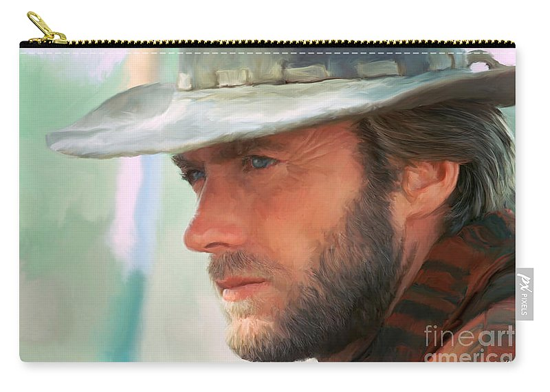 Clint Eastwood Carry-all Pouch featuring the painting Clint Eastwood by Paul Tagliamonte