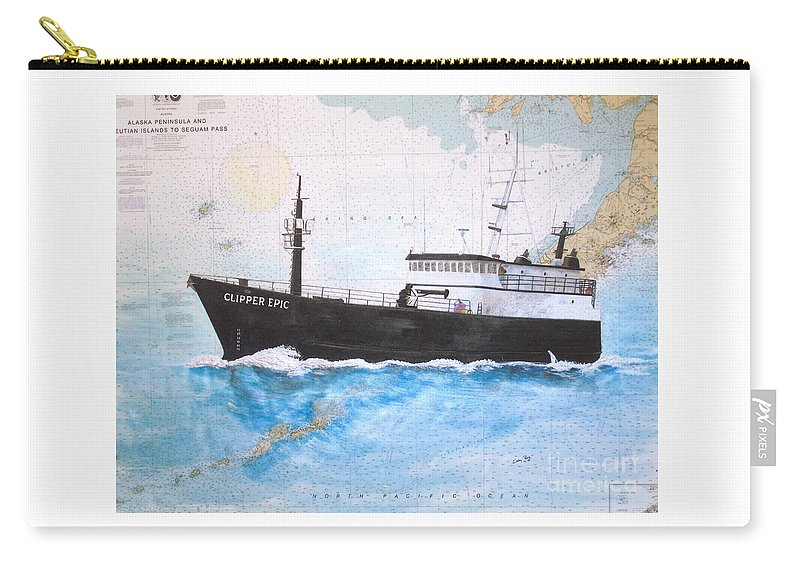 Clipper Carry-all Pouch featuring the painting Clipper Epic Longline Fishing Boat Nautical Chart Map Art by Cathy Peek