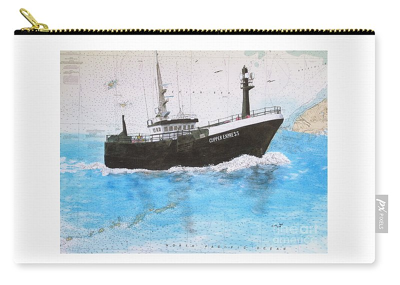 Clipper Carry-all Pouch featuring the painting Clipper Express Longline Fishing Boat Nautical Chart Map Art by Cathy Peek