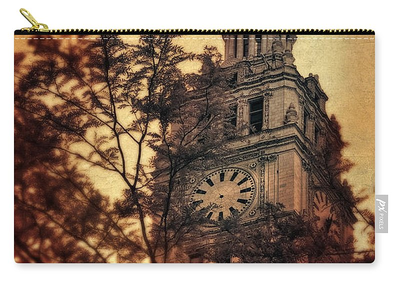 Clock Carry-all Pouch featuring the photograph Clock Tower by Jill Battaglia