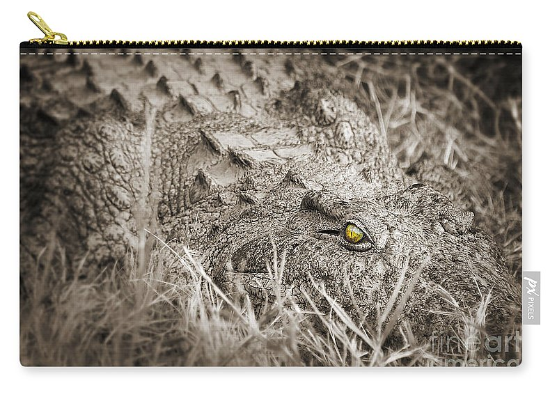 Crocodile Carry-all Pouch featuring the photograph Close Crocodile by Delphimages Photo Creations