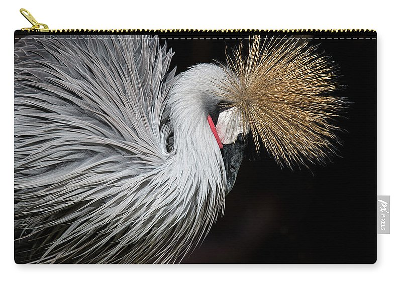 Tranquility Carry-all Pouch featuring the photograph Close Portrait Of A Grey Crowned Crane by © Santiago Urquijo