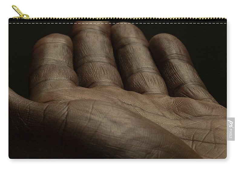 Empty Carry-all Pouch featuring the photograph Close Up Of An Open Male Hands, Dark by Jonathan Knowles