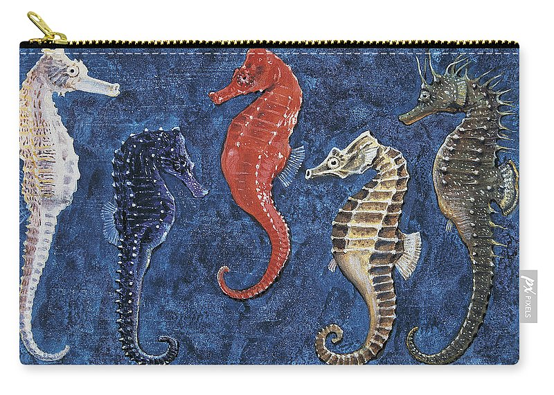 Biology; Zoology; Animalia Carry-all Pouch featuring the drawing Close-up Of Five Seahorses Side By Side by English School