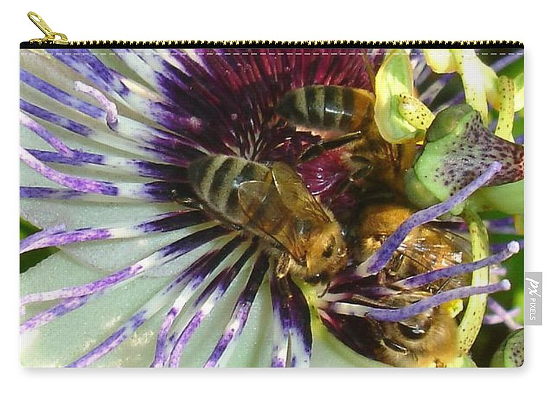 Flower Carry-all Pouch featuring the photograph Close Up Of Passion Flower With Honey Bee by Taiche Acrylic Art