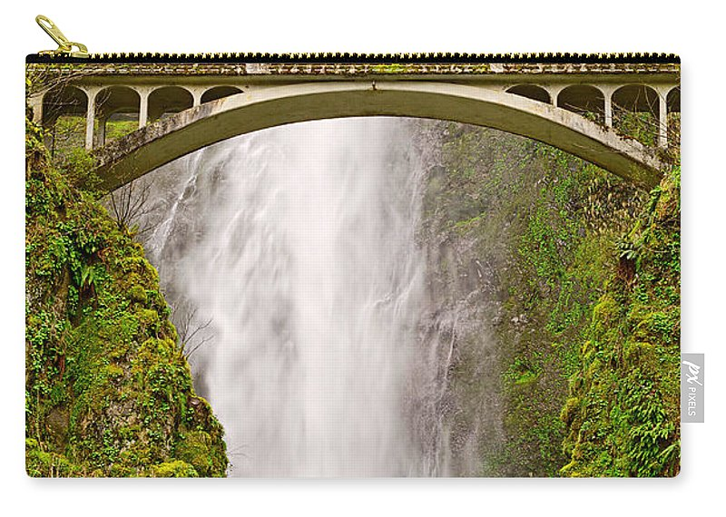 Waterfall Carry-all Pouch featuring the photograph Close Up View Of Multnomah Falls In The Columbia River Gorge Of Oregon by Jamie Pham