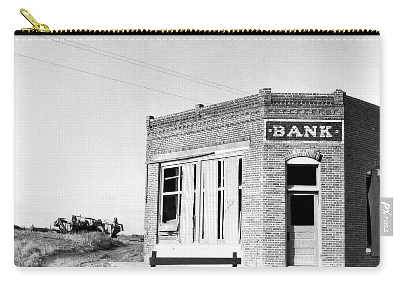 1936 Carry-all Pouch featuring the photograph Closed Bank, 1936 by Granger
