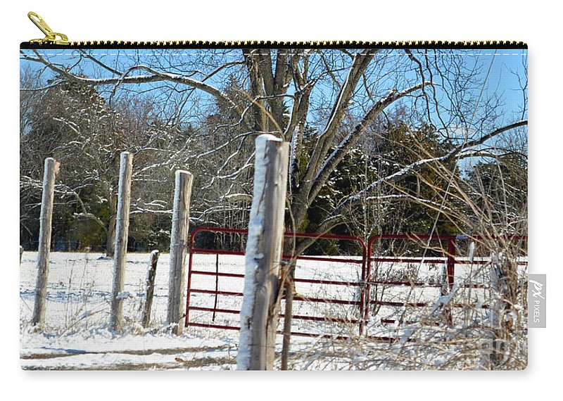 Fence In Snow Carry-all Pouch featuring the photograph Closed Gate In Winter by Lydia Holly