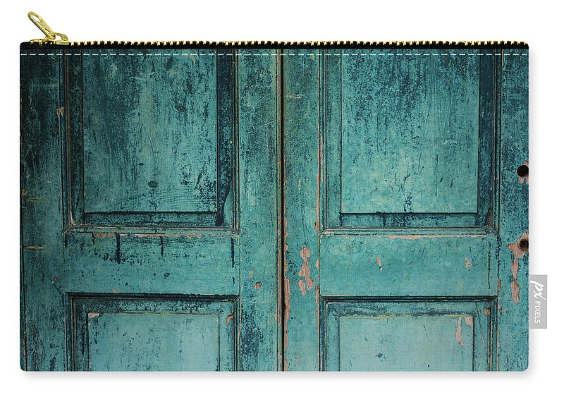 Material Carry-all Pouch featuring the photograph Closeup Of Blue Turquoise Old Textured by Sean Idielic