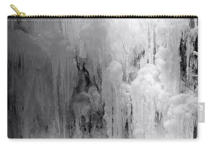 Ice Carry-all Pouch featuring the photograph Closeup Of Icy Waterfall - Black And White by Carol Groenen