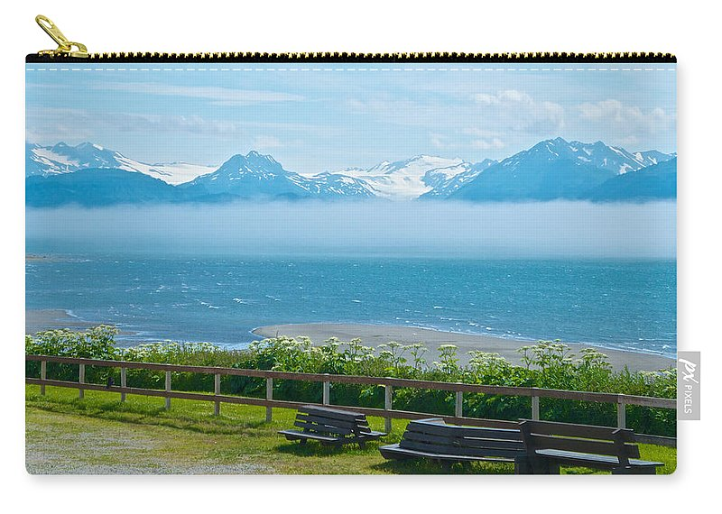 Cloud Bank At Low Tide In Homer Carry-all Pouch featuring the photograph Cloud Bank At Low Tide In Homer-ak by Ruth Hager
