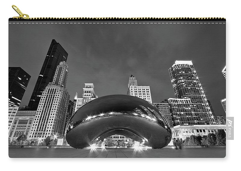 3scape Carry-all Pouch featuring the photograph Cloud Gate and Skyline by Adam Romanowicz