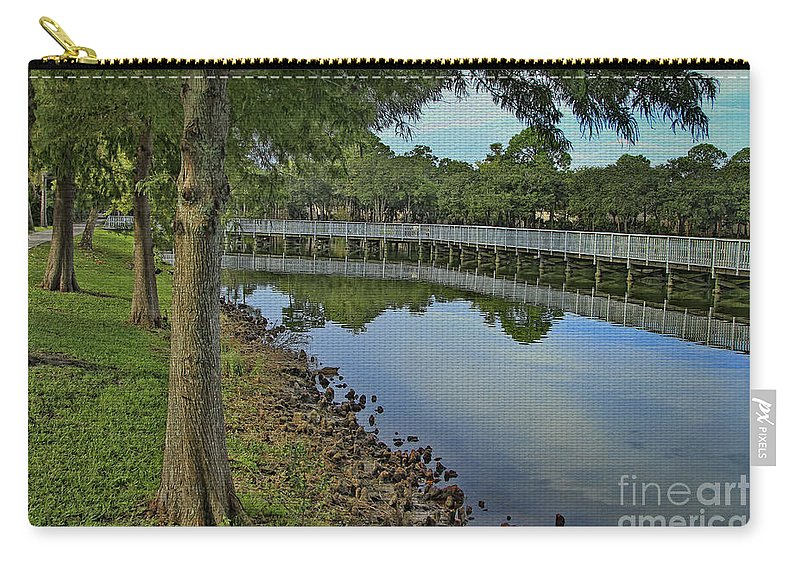 Park Carry-all Pouch featuring the photograph Cloud Reflection At The Pond by Deborah Benoit