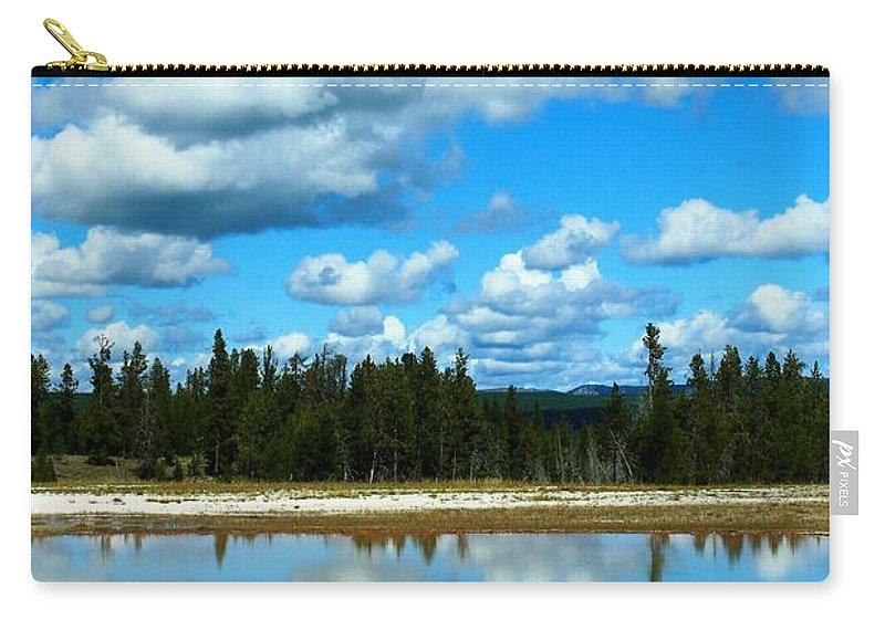 Yellowstone National Park Carry-all Pouch featuring the photograph Cloud Reflections by Catie Canetti