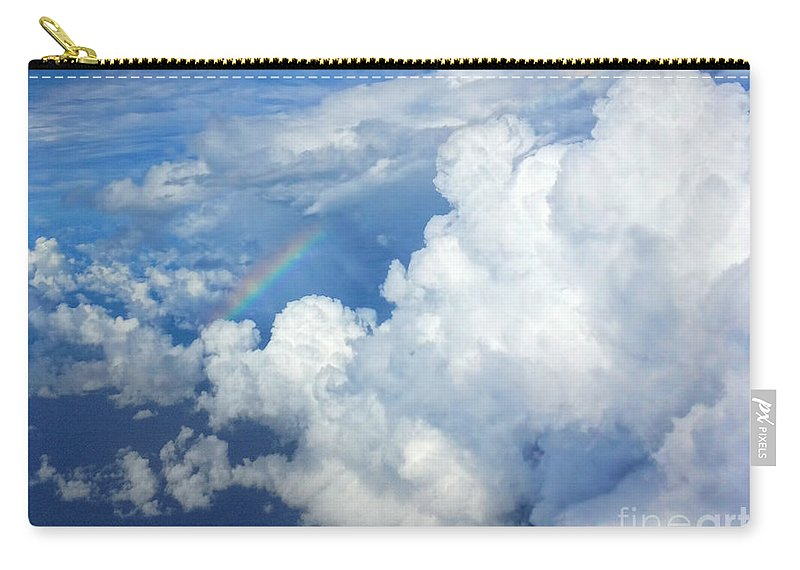 Clouds Carry-all Pouch featuring the photograph Clouds And Rainbow by Photos By Cassandra