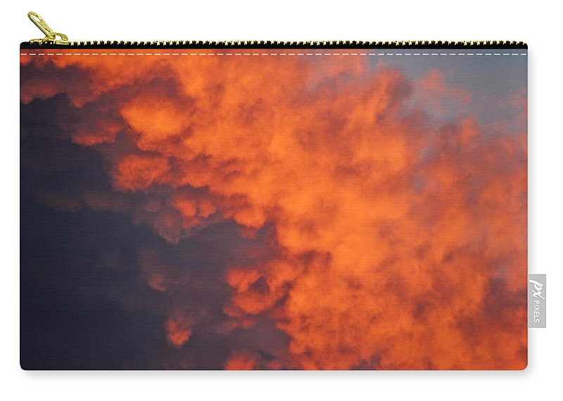 Sun Set Clouds Photographs Carry-all Pouch featuring the photograph Clouds Of Fire by Mayhem Mediums
