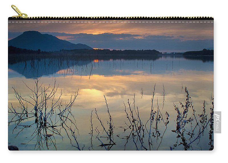 Sunset Carry-all Pouch featuring the photograph Clouds On The Pink Water by Guido Montanes Castillo