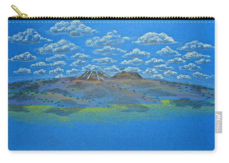 Drawing Carry-all Pouch featuring the drawing Clouds Over Lassen by Michele Myers