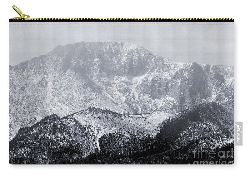 Pikes Peak Carry-all Pouch featuring the photograph Cloudy Misty Pikes Peak by Steve Krull