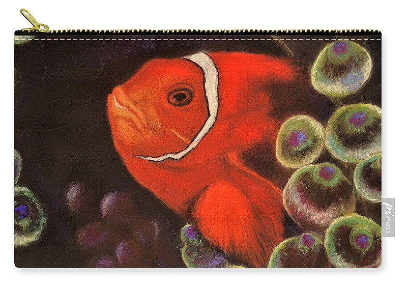 Clown Fish Carry-all Pouch featuring the pastel Clown Fish In Hiding Pastel by Antonia Citrino