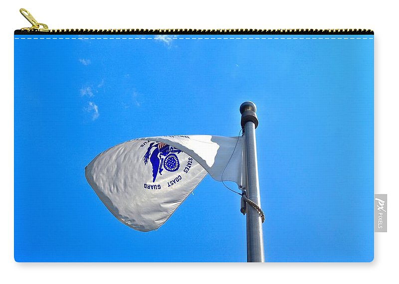 Coast Guard Flag Carry-all Pouch featuring the photograph Coast Guard Flag by Tara Potts