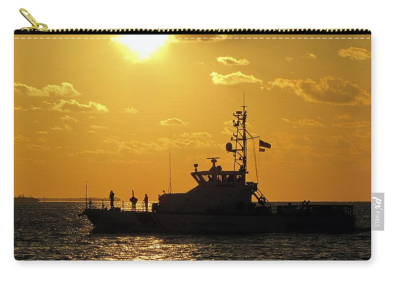 Sky Carry-all Pouch featuring the photograph Coast Guard In Paradise - Key West by Bob Slitzan