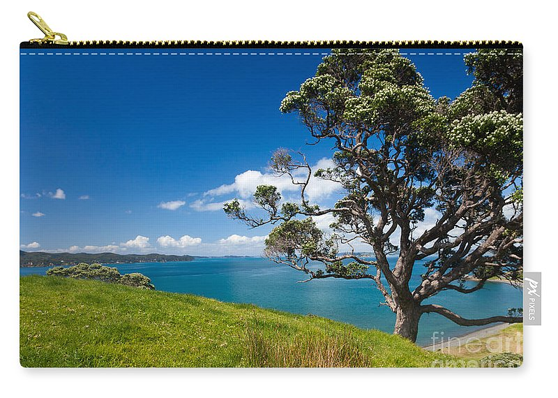 Metrosideros Excelsa Carry-all Pouch featuring the photograph Coastal Farmland Landscape With Pohutukawa Tree by Stephan Pietzko