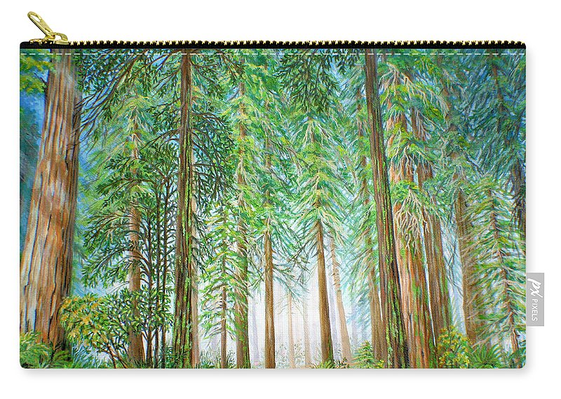 Trees Carry-all Pouch featuring the painting Coastal Redwoods by Jane Girardot