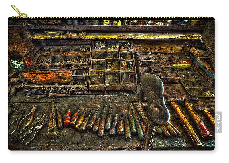 Shoe Repair Carry-all Pouch featuring the photograph Cobblers Tools by David Morefield